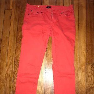 JCrew Toothpick Jeans—Orange